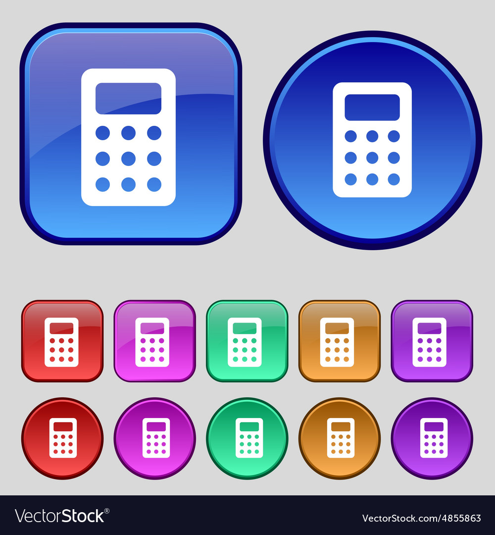 Calculator bookkeeping icon sign a set of twelve vector