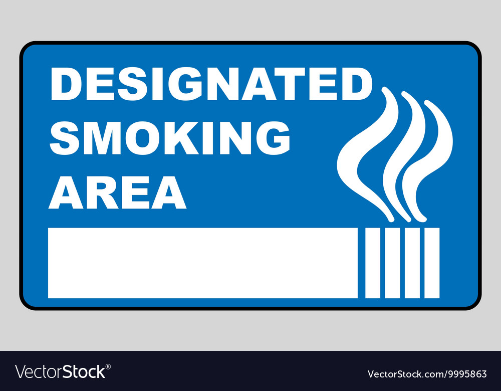 Designated smoking area sign isolated on white vector