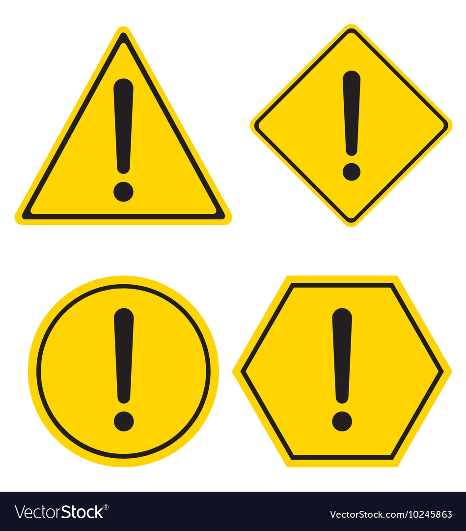 Hazard warning sign triangle hexagon square and vector