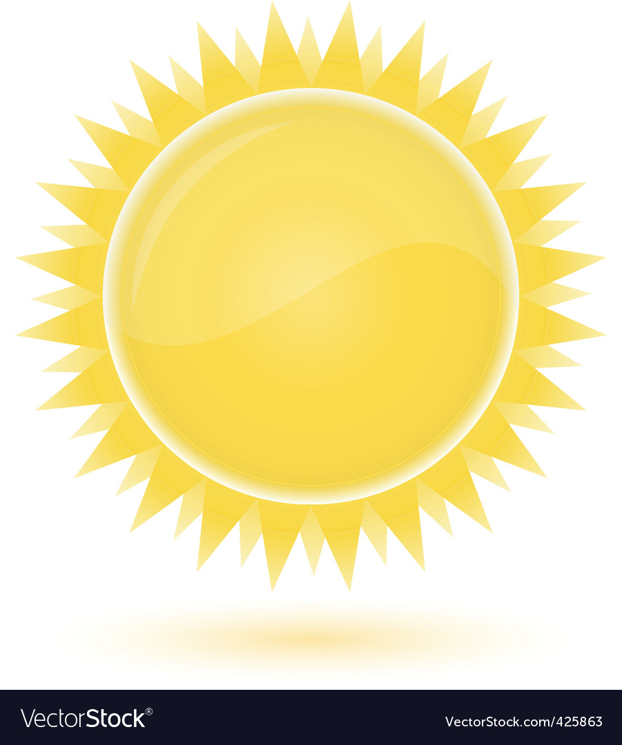 Sun weather forecast glossy icon vector