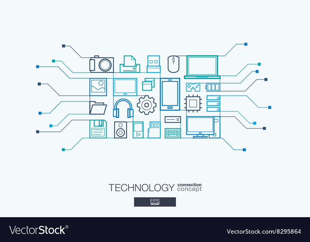 Technology integrated thin line symbols vector