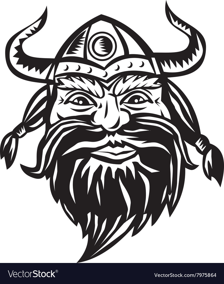 Viking warrior head angry black and white vector