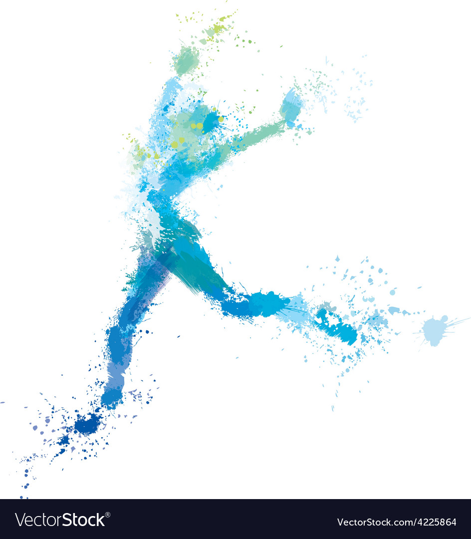 Woman jump splash vector