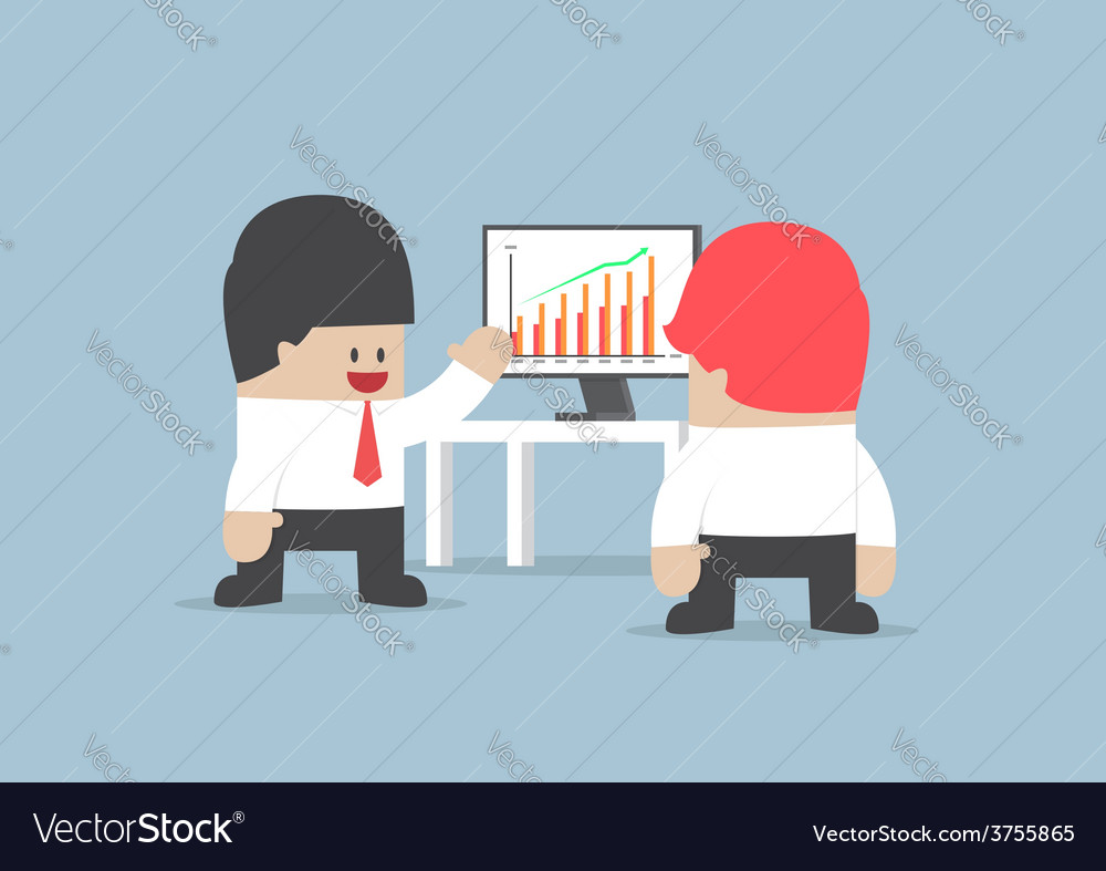 Businessman presentation growth chart on monitor vector