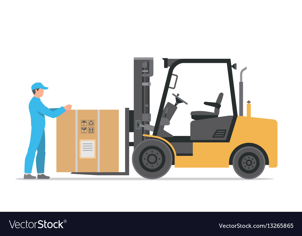 Forklift truck with box vector