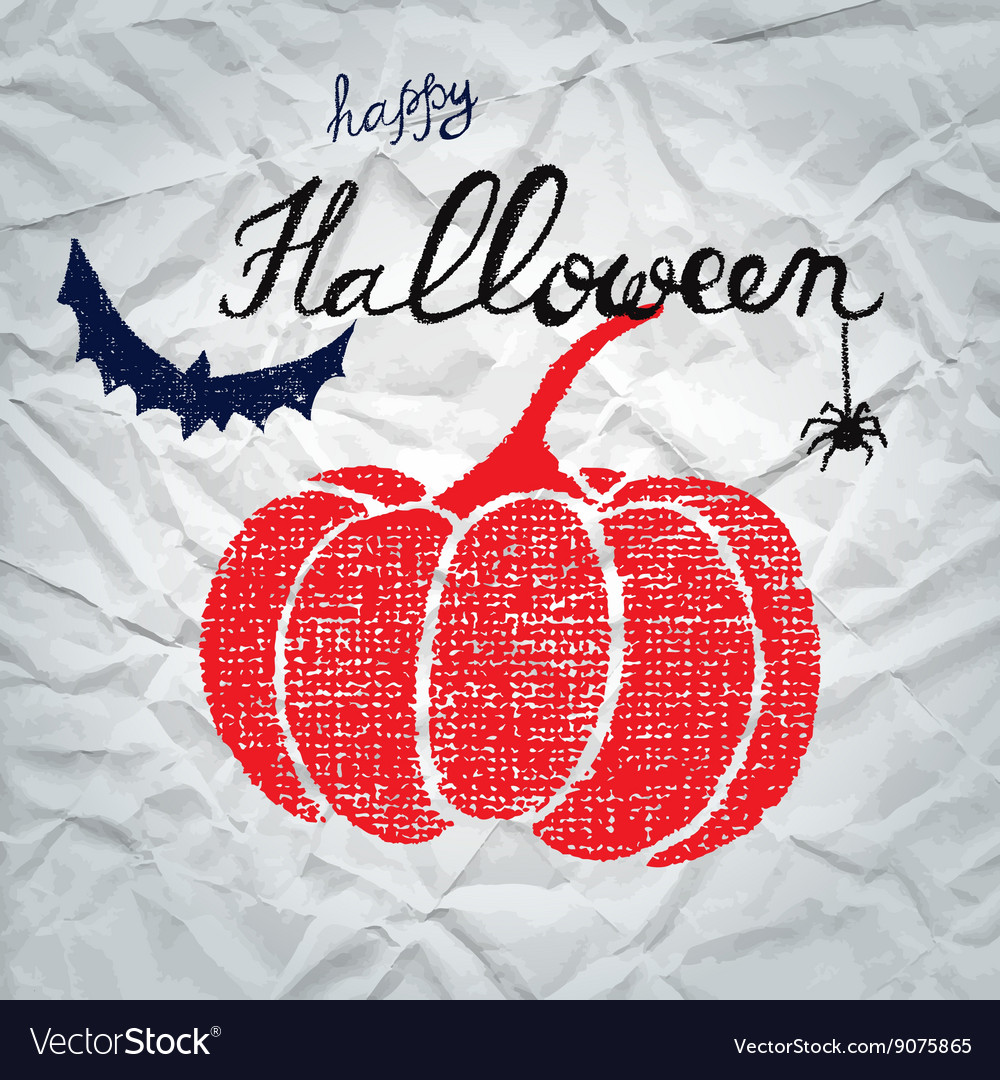 Happy halloween greeting card with pumpkin vector