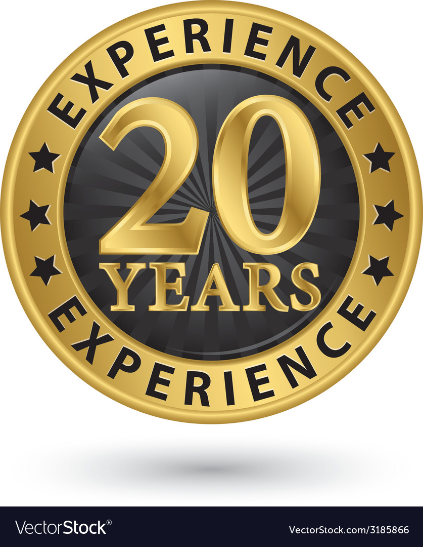 20 years experience gold label vector