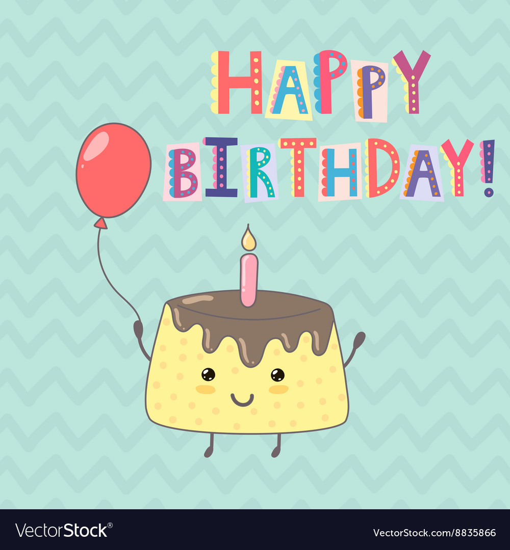 Happy birthday greeting card with a cute cake vector