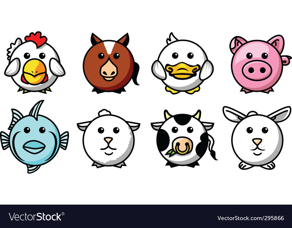Round animals vector