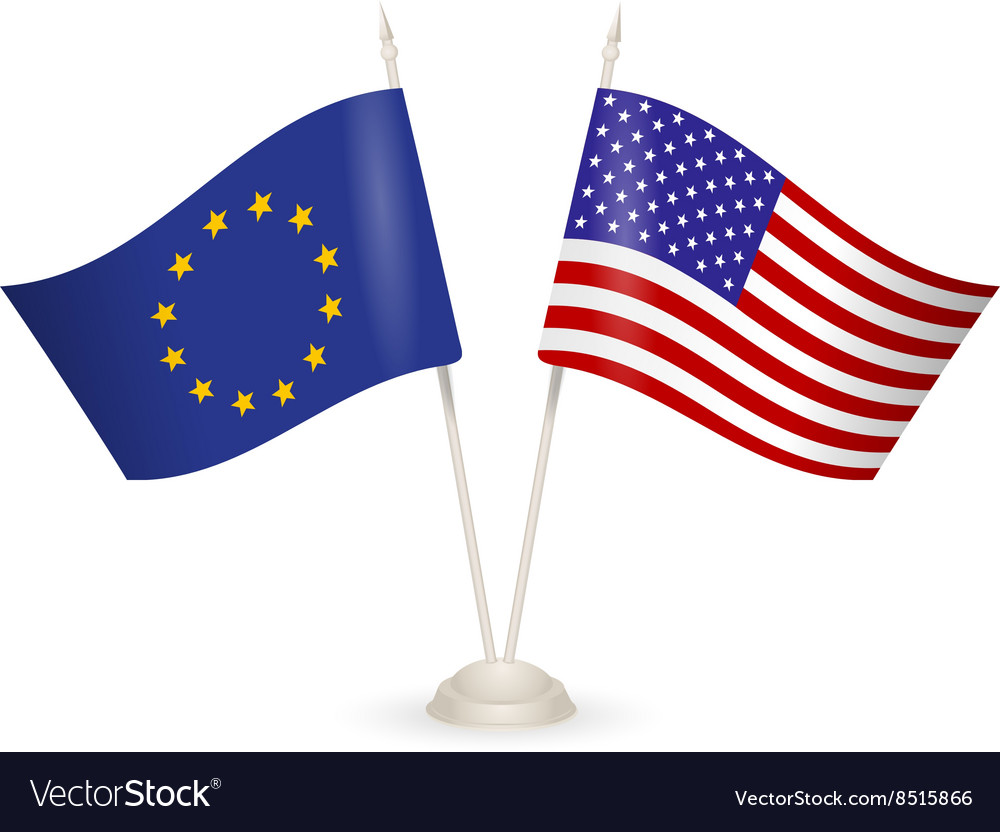 Table stand with flags of eu and usa vector