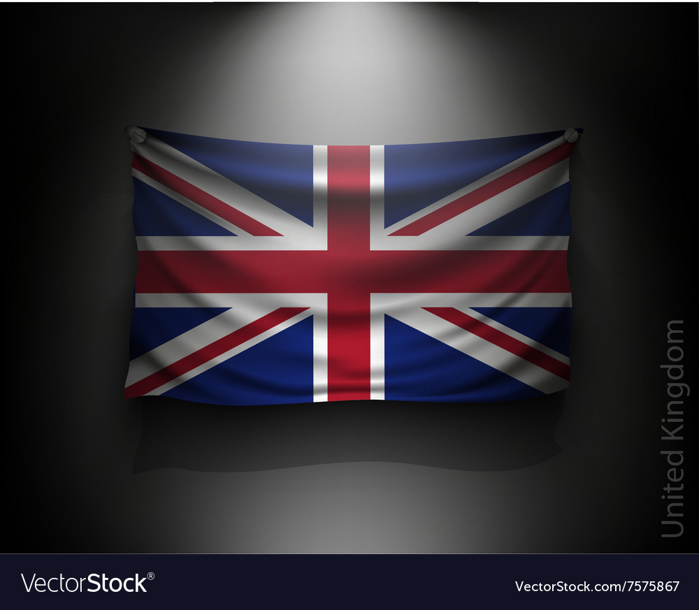 Waving flag united kingdom on a dark wall vector