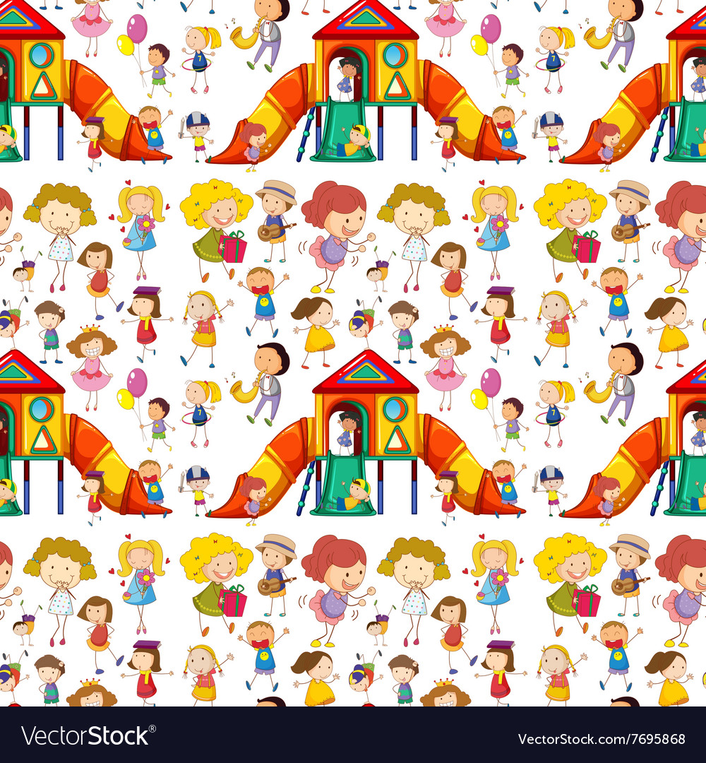 Seamless children playing and having fun vector