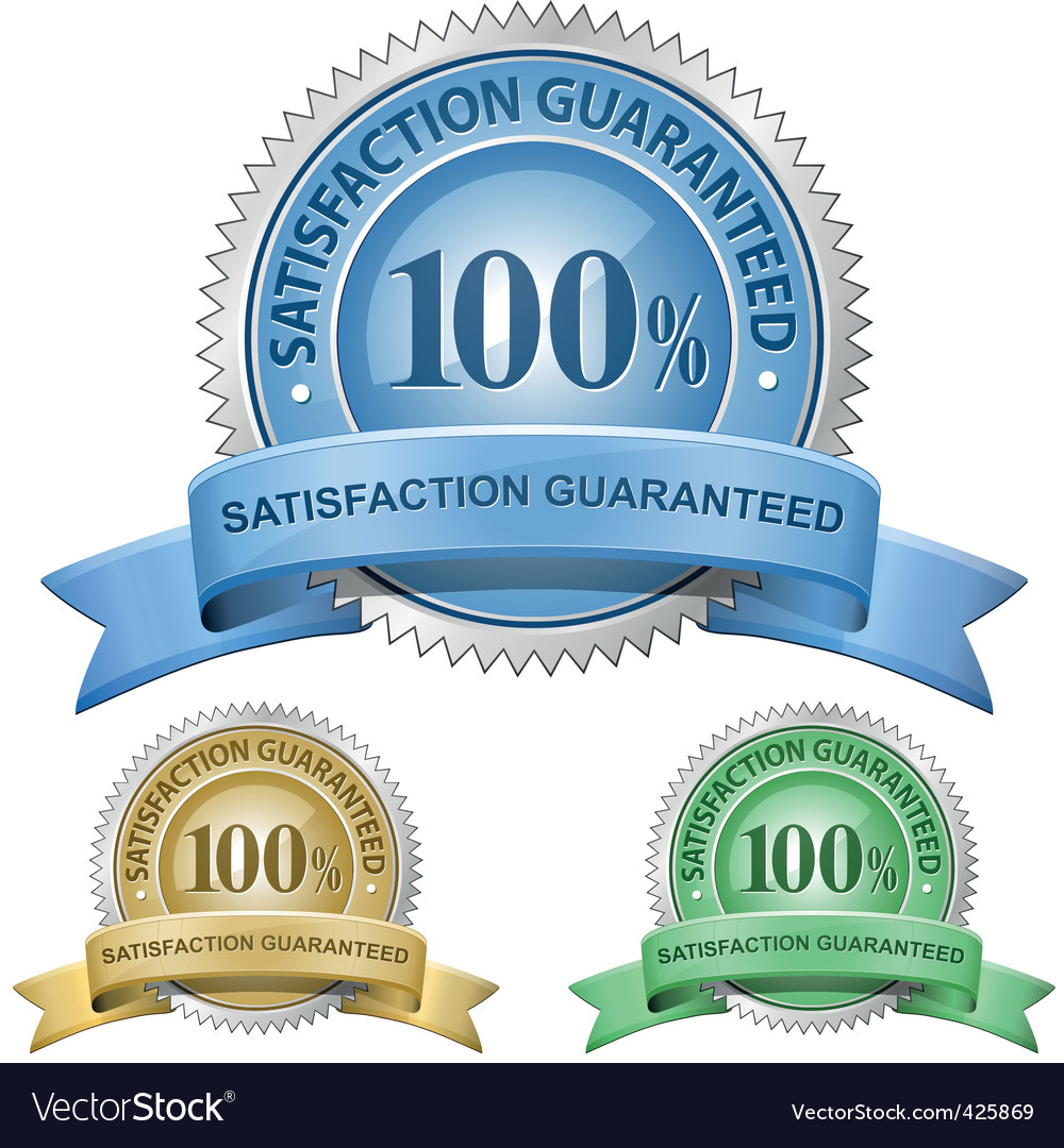100 satisfaction guaranteed signs vector