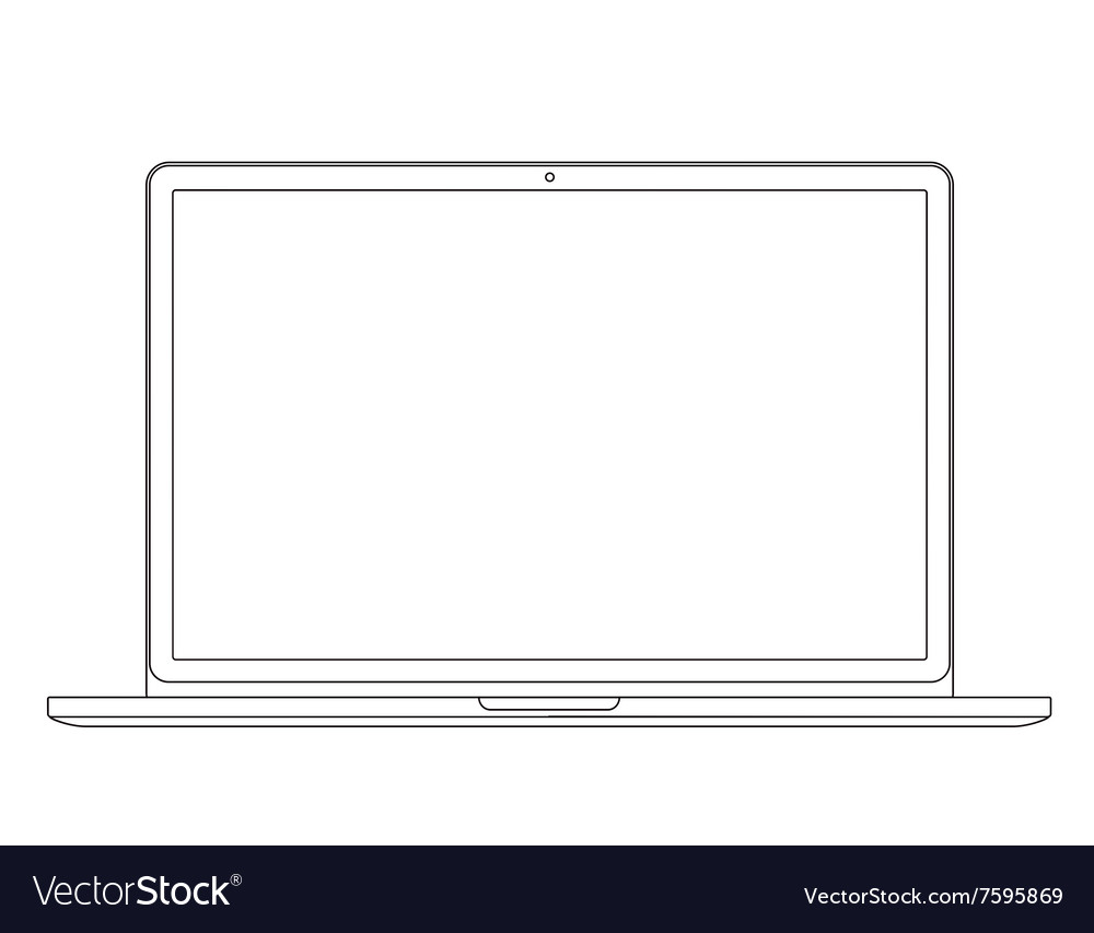 Outline drawing laptop elegant thin line style vector