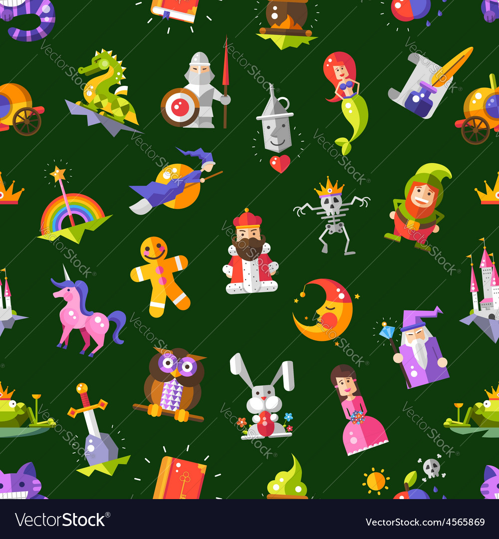 Pattern of modern flat design fairy tales magic vector