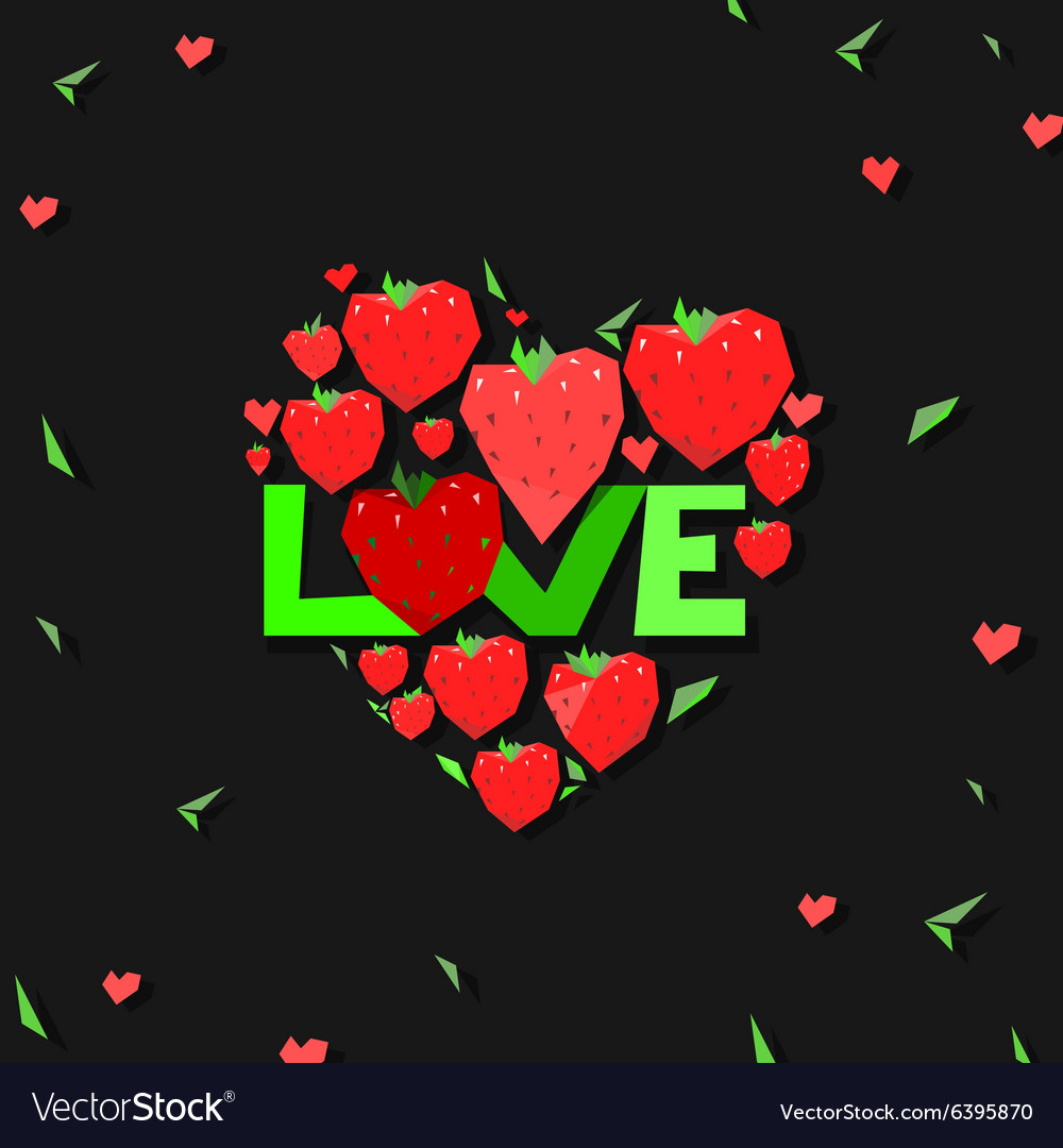 Heart strawberry vector
