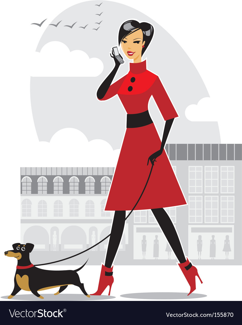 Pretty girl walking the dog vector