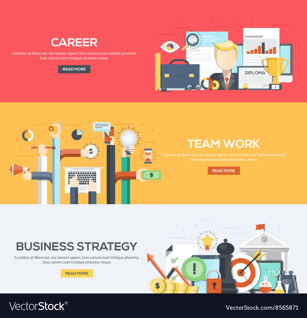 Flat designed banners career team work strategy vector