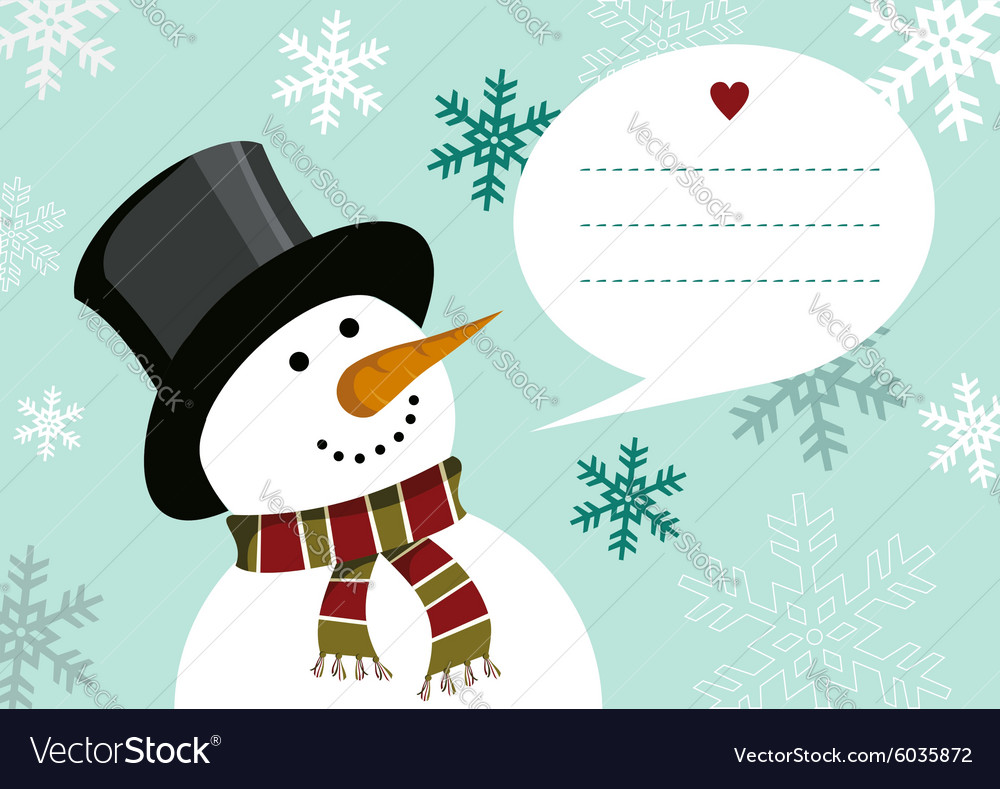 Christmas happy snowman greeting card background vector
