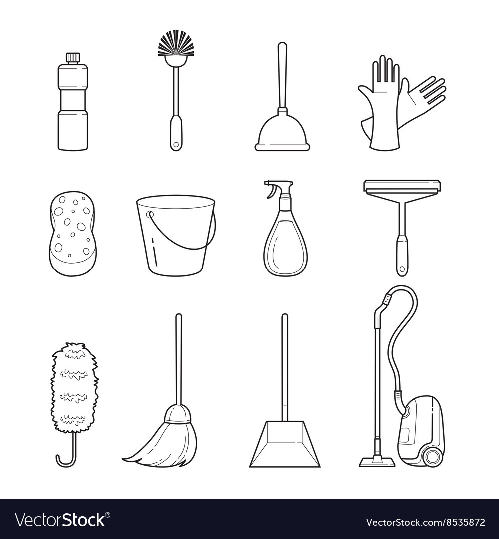 Cleaning home appliances outline icons set vector