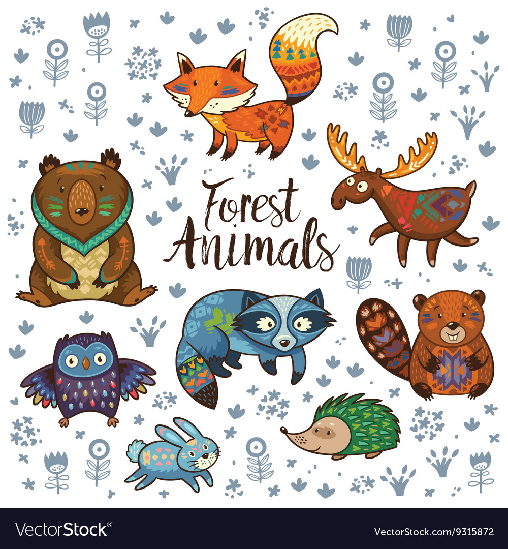 Forest tribal animals set vector