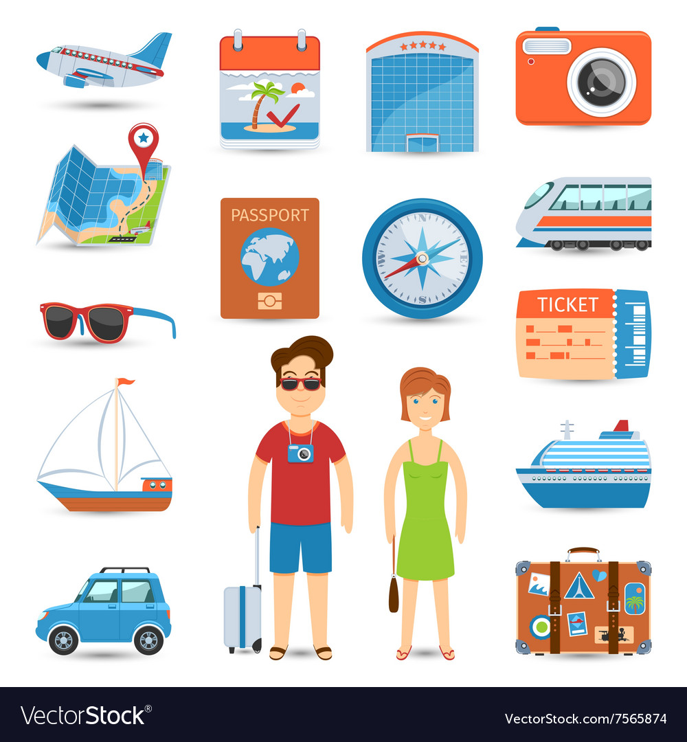 Vacation and travel flat icons set vector