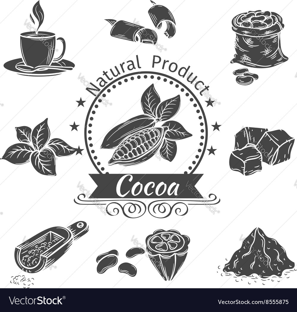 Monochrome icons cocoa vector