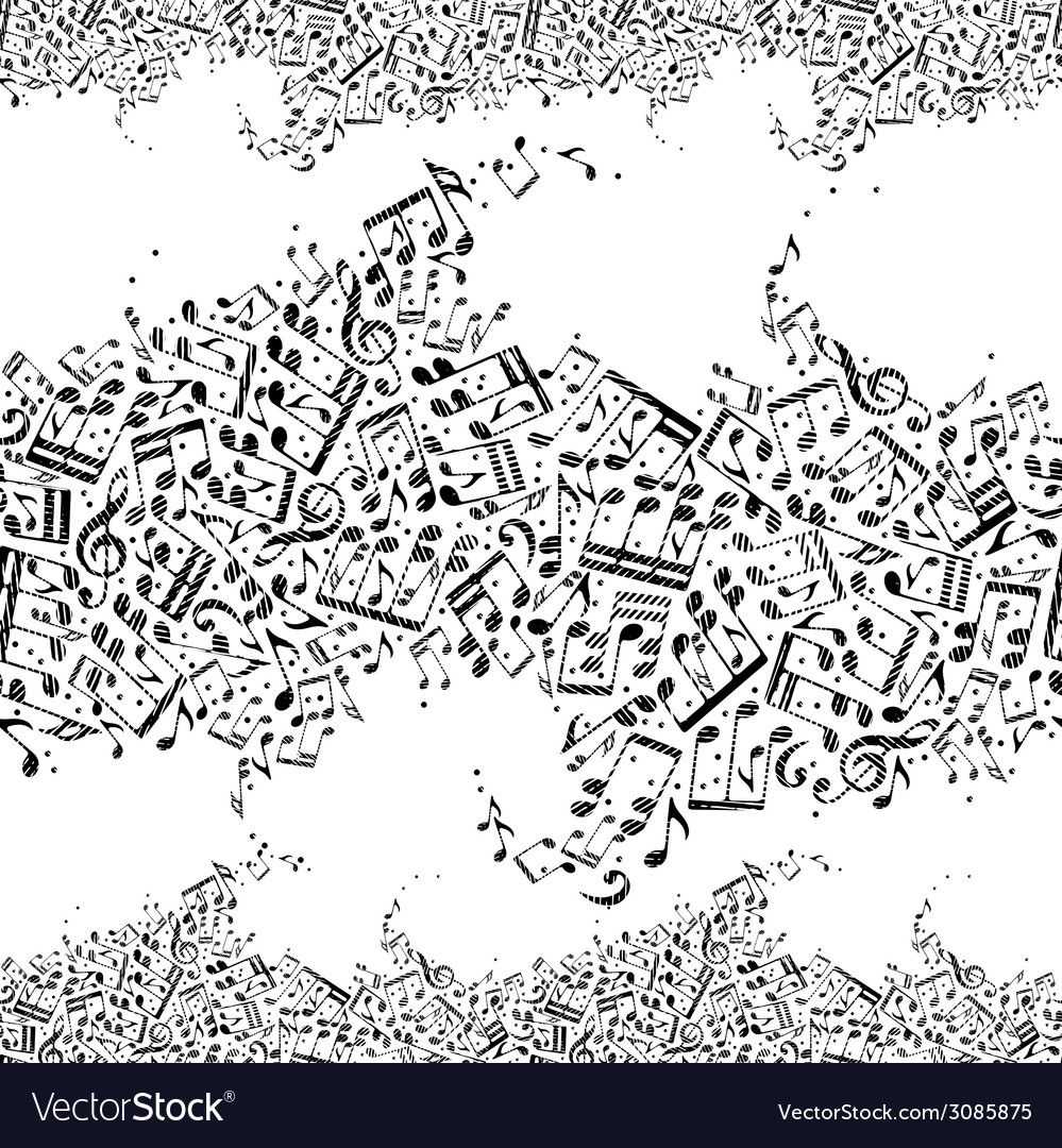 Music seamless pattern with notes vector