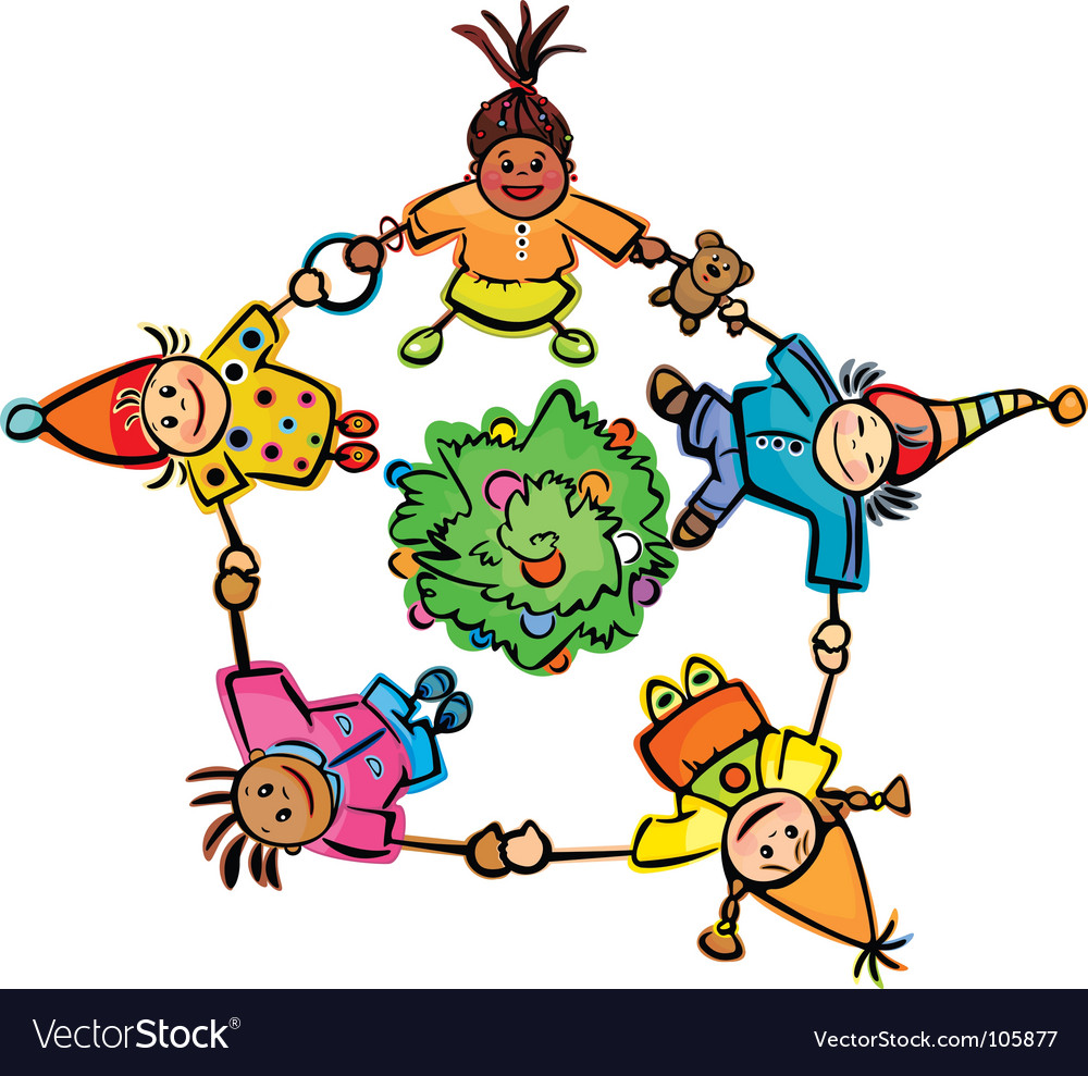 Happy dancing kids around tree vector