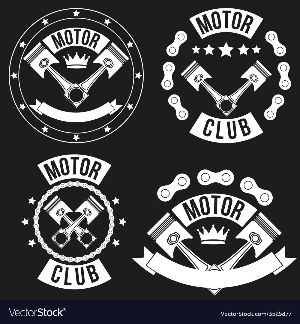 Set of vintage motor club signs and label vector