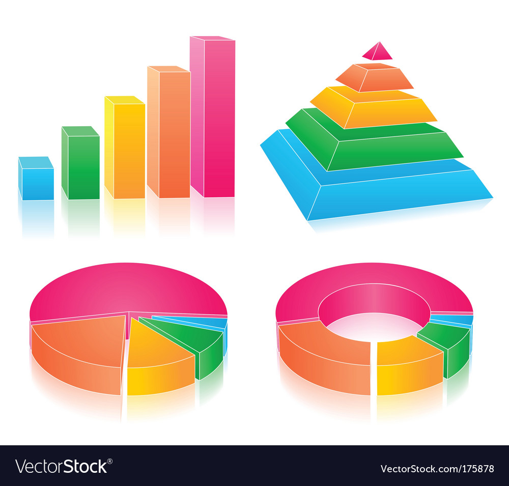 Set of rainbow charts vector