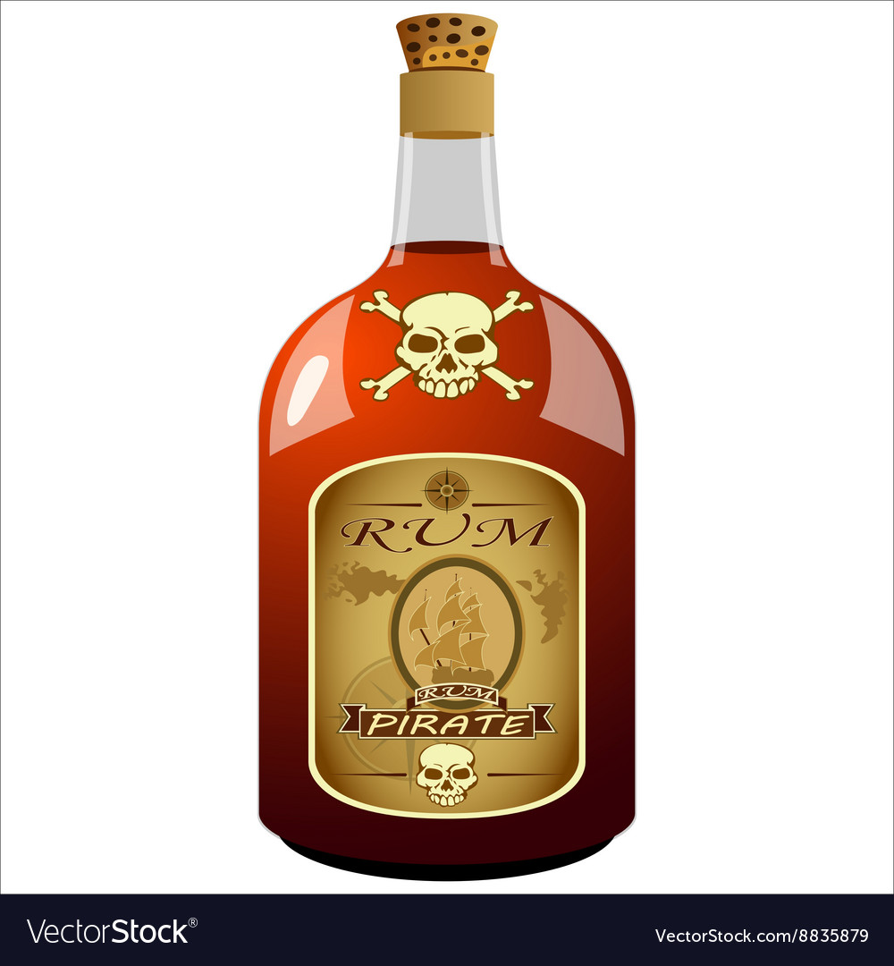 Bottle of pirate rum vector