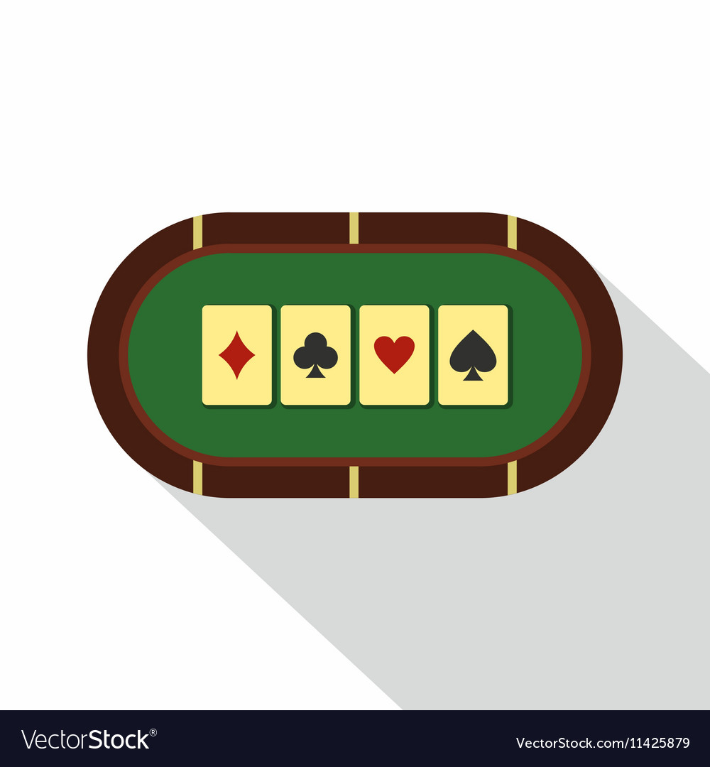 Green poker table icon flat style vector
