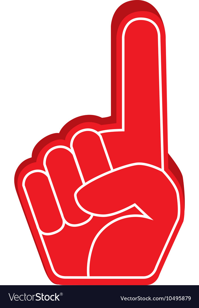 Hand foam finger red isolated vector