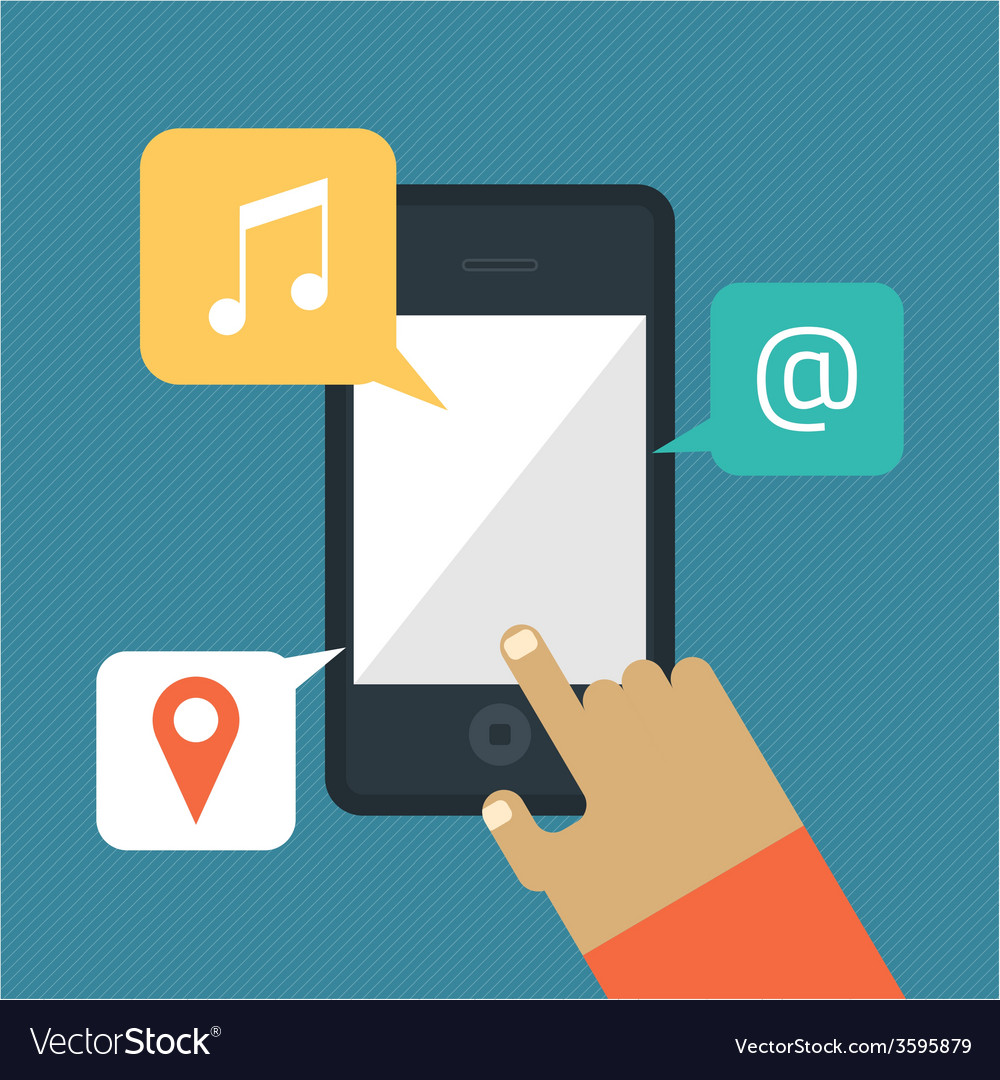 Hand hold smart phone  music mail location icons vector