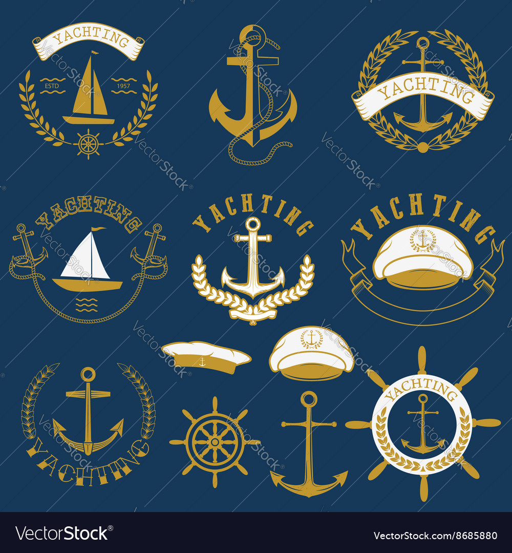 Yachting labels and badgesjpg vector