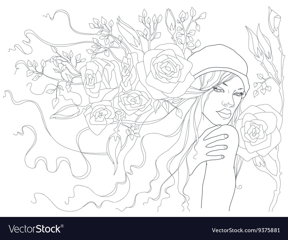 Beautiful girl with flowers in her hair beautiful vector