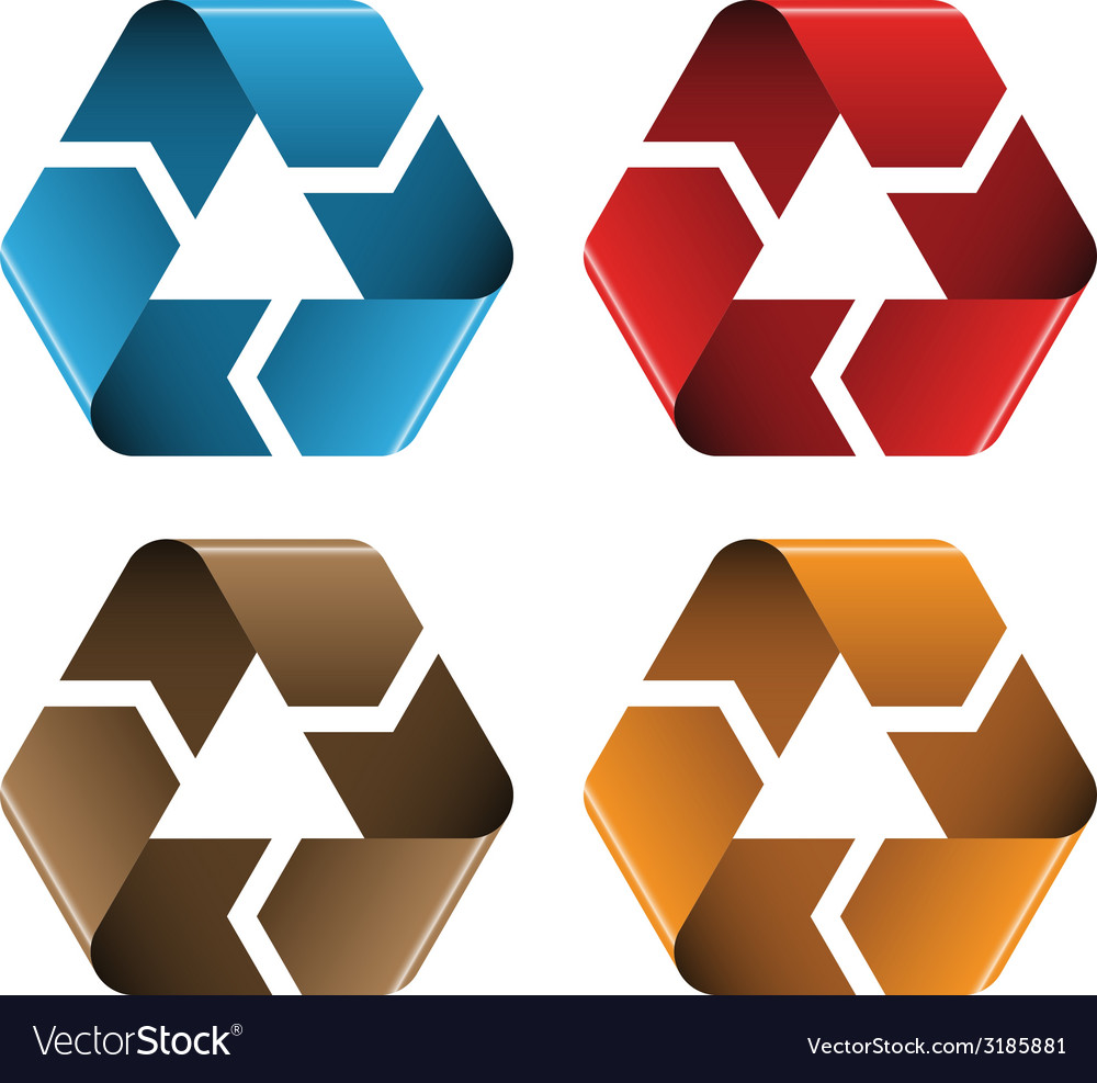 Colored recycle icons vector