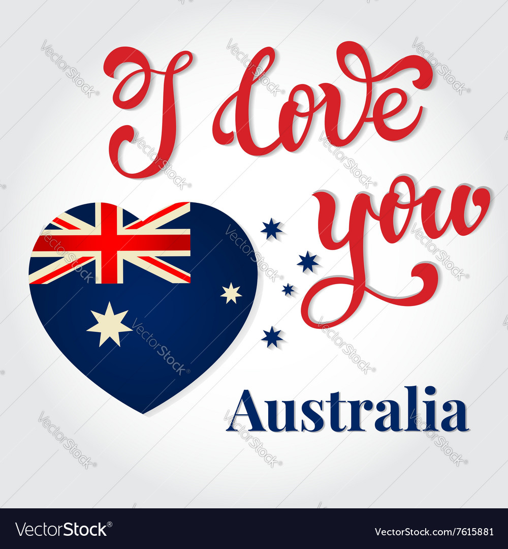I love you australia hand lettering greeting card vector