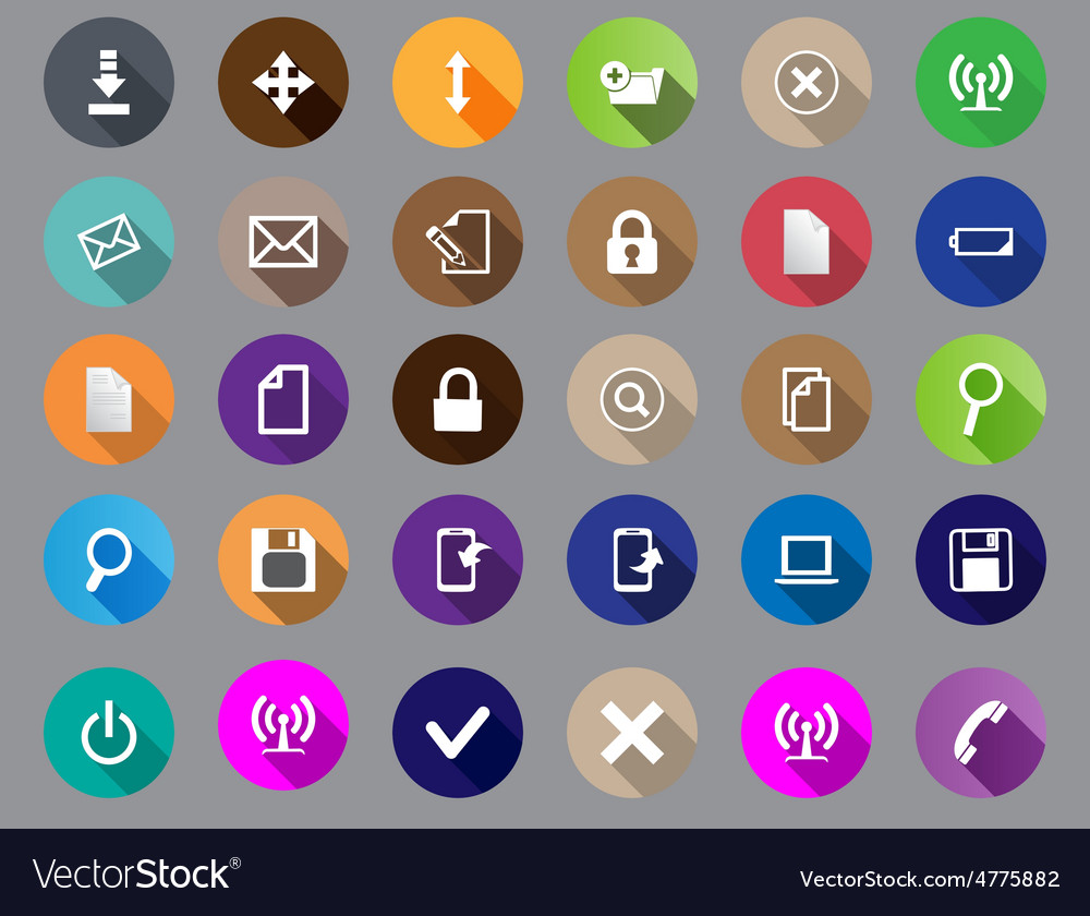 Set of computer icons in a flat design vector