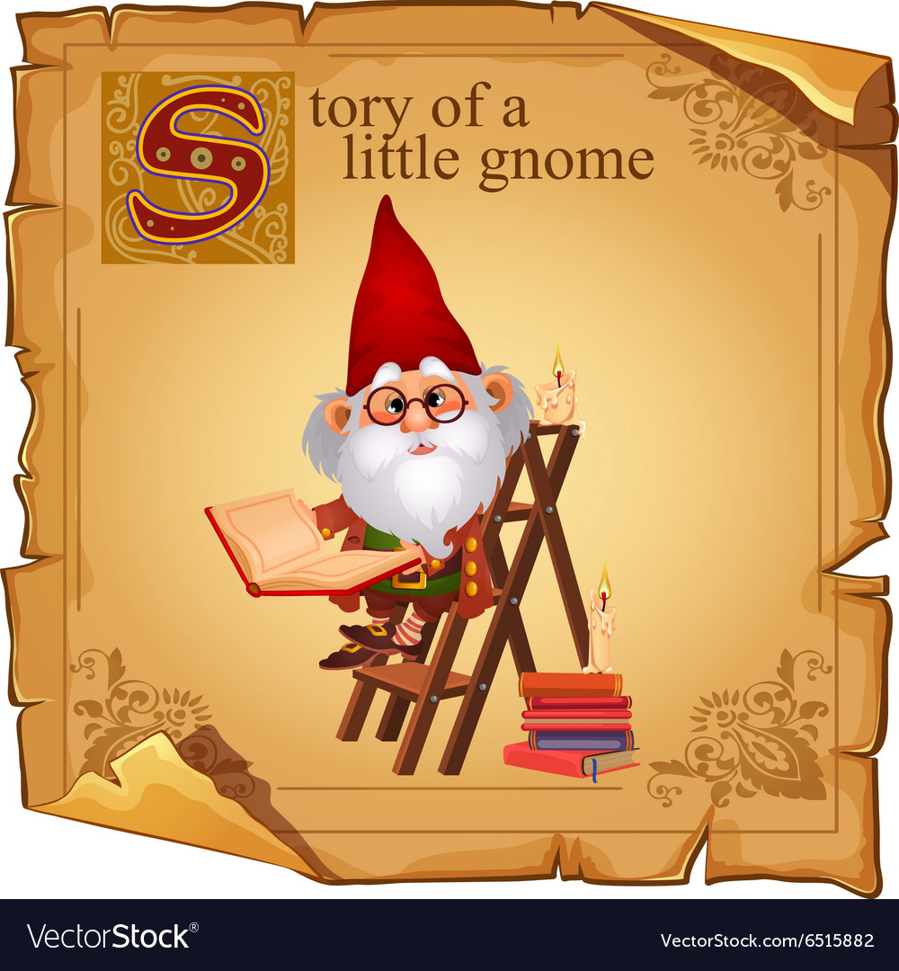 Wise gnome with book and candles vector