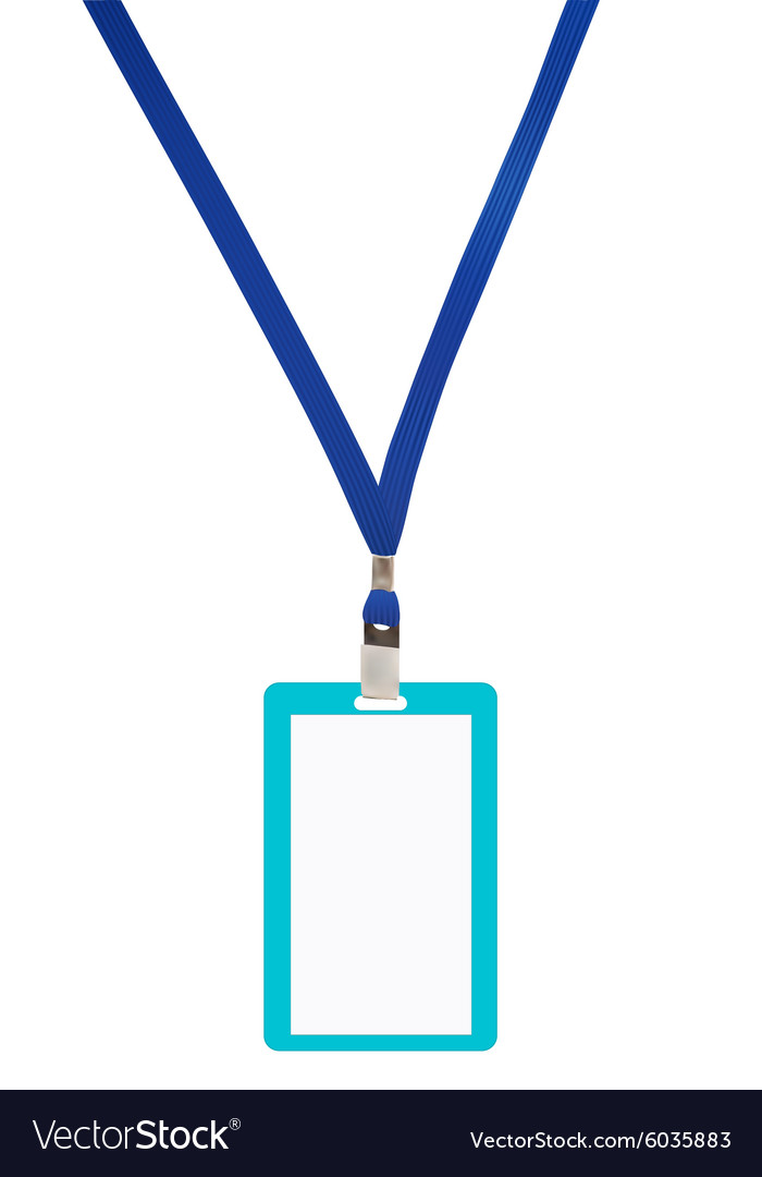 Blank badge with blue neckband vector