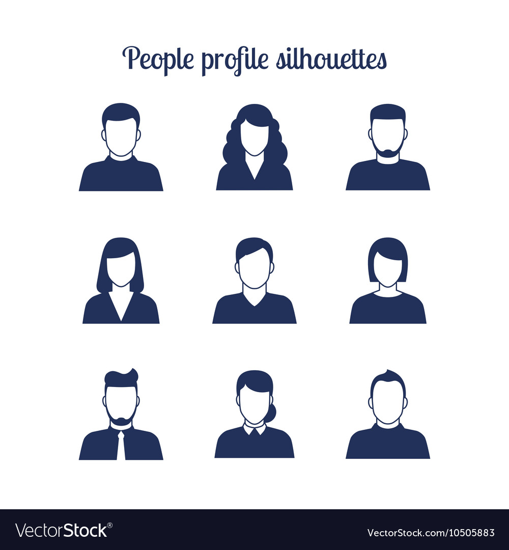 People profile silhouettes icons set vector