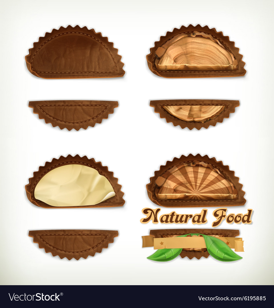 Leather stickers set design elements vector