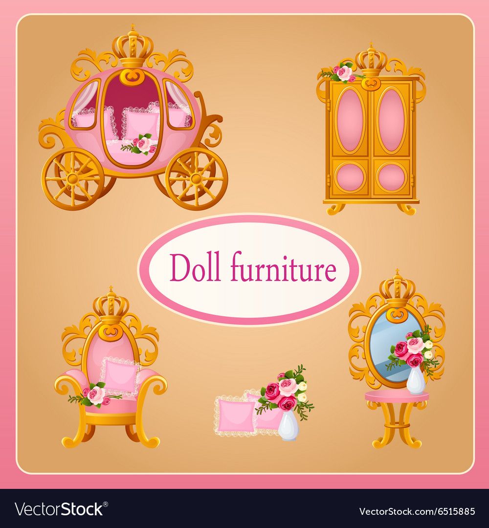 Royal doll furniture for the room princess vector