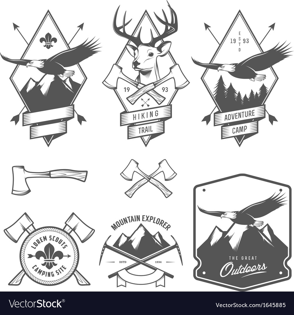 Vintage hiking and camping labels and badges vector