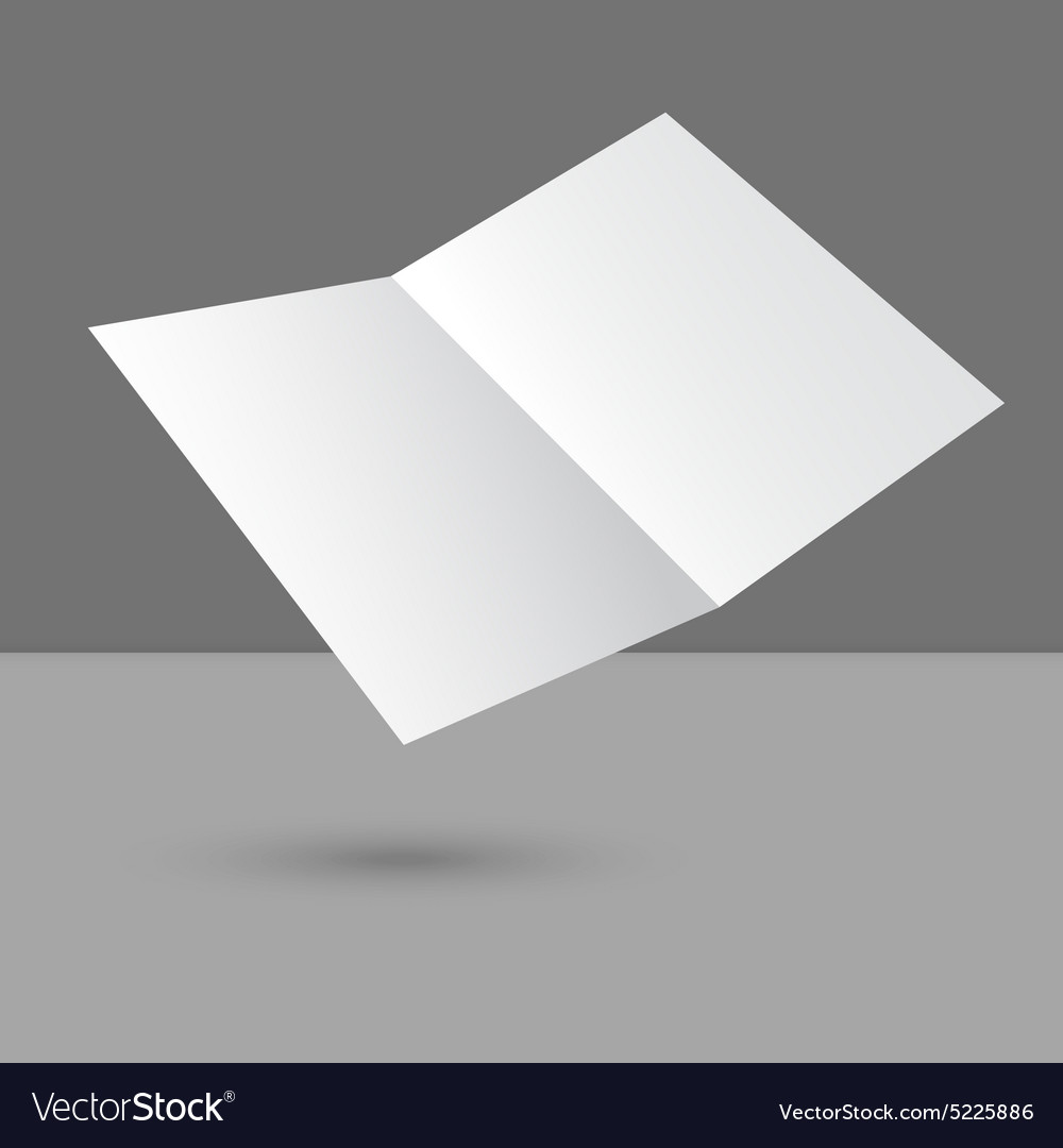 Hovering blank two fold paper brochure vector