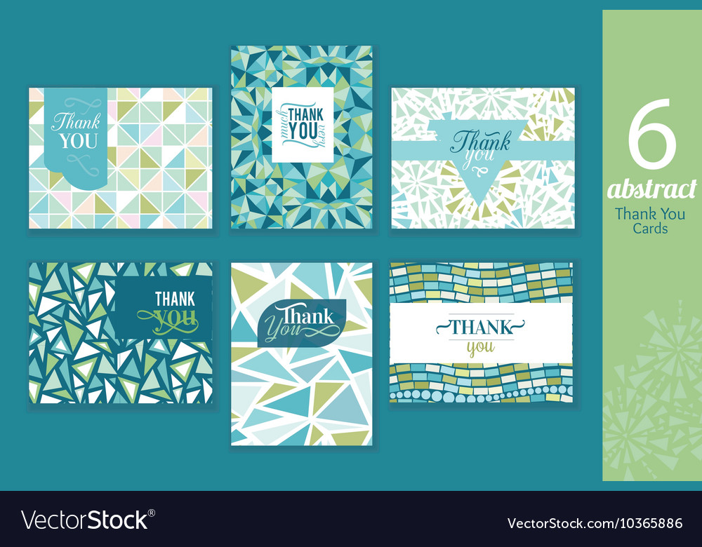 Six abstract vintage thank you cards set with text vector