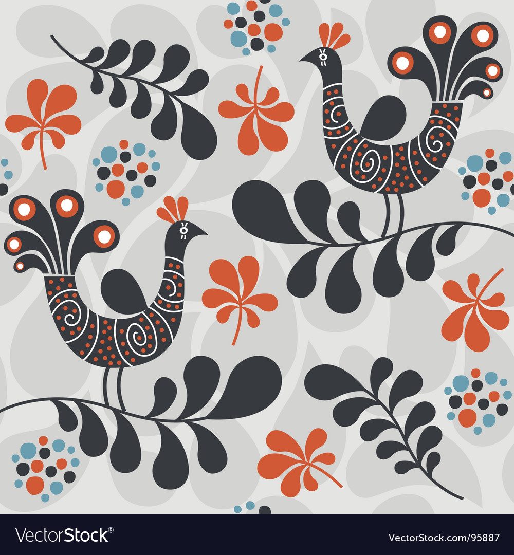 Abstract peacocks design vector