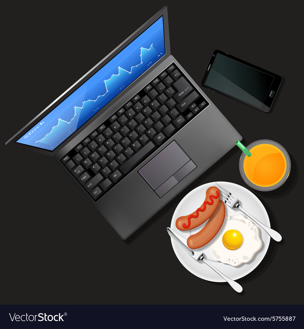 Laptop and phone with orange juice and breakfast vector